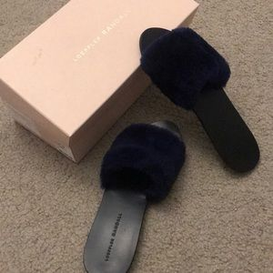 Loeffler randall faux fur slides like new